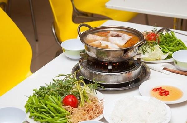 Trình bày và thưởng thức món lẩu cá diêu hồng - cach nau lau ca dieu hong