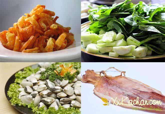Một số nguyên liệu nấu lẩu cua biển - cách nấu lẩu cua biển ngon