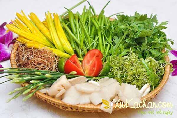 Một số loại rau, nấm ăn lẩu cua biển sau khi sơ chế - cách làm lẩu cua biển