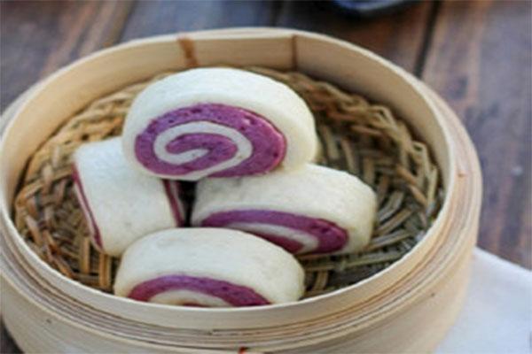 Bánh bao hai màu hình xoắn ốc - cach lam banh bao chay