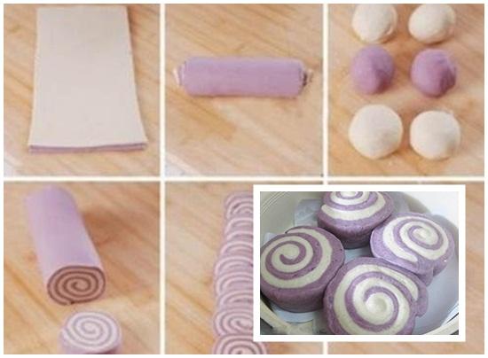 Tạo bánh bao hai màu hình xoắn ốc - cách làm bánh bao chay