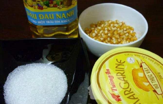 Một số nguyên liệu làm bắp rang bơ - cách làm bắp rang bơ tại nhà