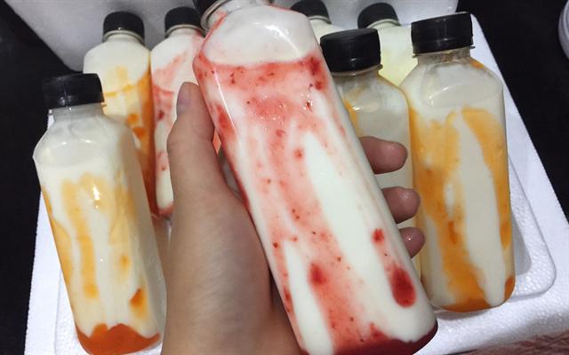 Sữa chua uống vị dâu - cách làm sữa chua uống vị hoa quả