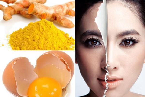 Cách trị mụn ẩn bằng lòng trắng trứng, bột nghệ và nước cốt chanh - cách trị mụn ẩn ở trán