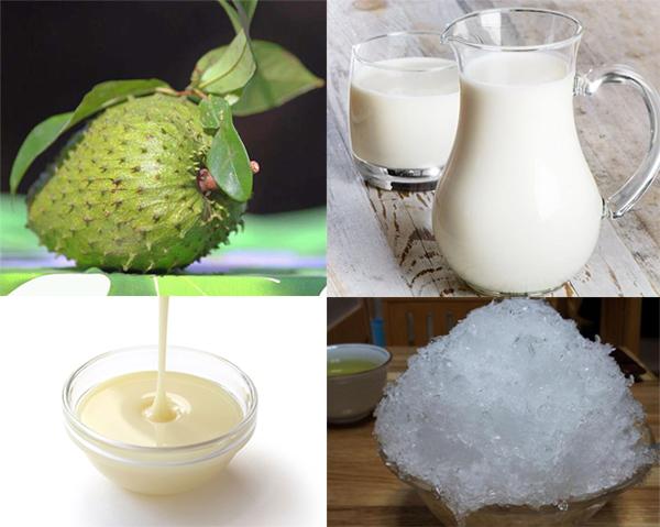 Chuẩn bị nguyên liệu làm sinh tố mãng cầu sữa tươi - cách làm sinh tố mãng cầu gai