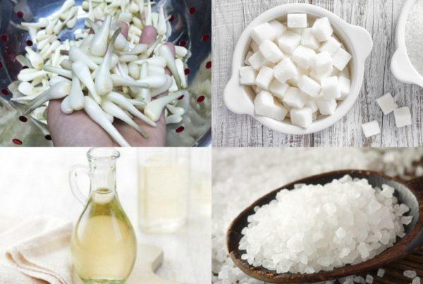 Một số nguyên liệu làm kiệu muối đường cần chuẩn bị