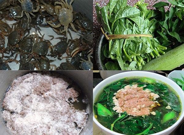 Nguyên liệu nấu canh cua rau đay, mồng tơi và mớp hương cần chuẩn bị