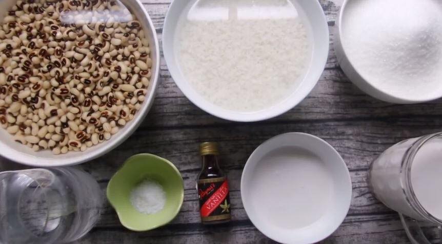 Một số nguyên liệu nấu chè đậu trắng nước cốt dừa