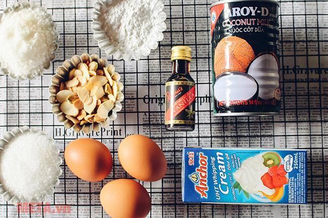 Một số nguyên liệu làm kem dừa cần chuẩn bị
