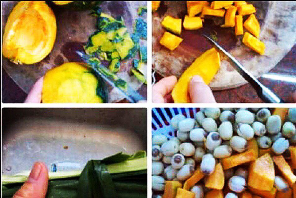 Sơ chế các nguyên liệu nấu chè bí đỏ hạt sen