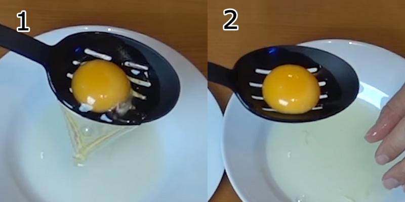 Đập trứng gà ra bát, tách lấy phần lòng đỏ trứng - cách làm kem tươi từ sữa đặc