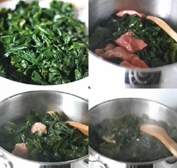 Nấu canh rong biển thịt bò