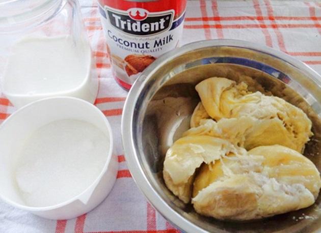 Một số nguyên liệu làm kem sầu riêng cần chuẩn bị