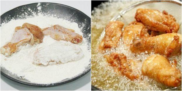Lăn gà qua bột ngô hoặc bột năng rồi cho vào chảo chiên vàng