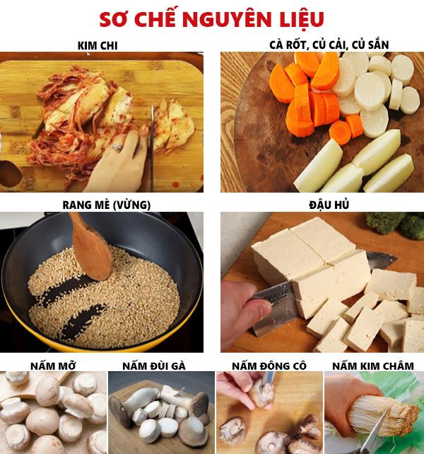 Sơ chế các nguyên liệu nấu canh kim chi chay Hàn Quốc - cách nấu canh kim chi ngon