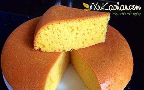 Thành phẩm món bánh bông lan có được - cách làm bánh bông lan mềm mịn
