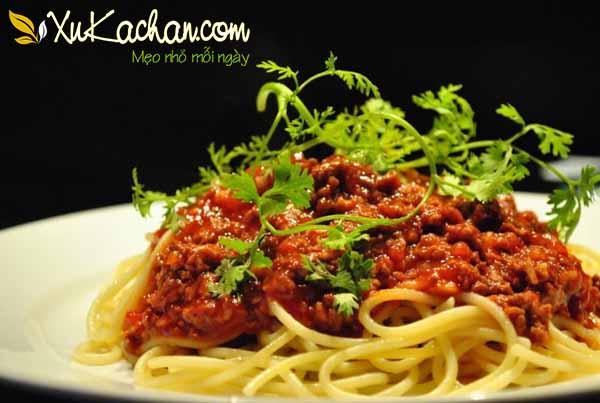 Thành phẩm món mì ý sốt cà chua bò bằm thơm ngon hấp dẫn
