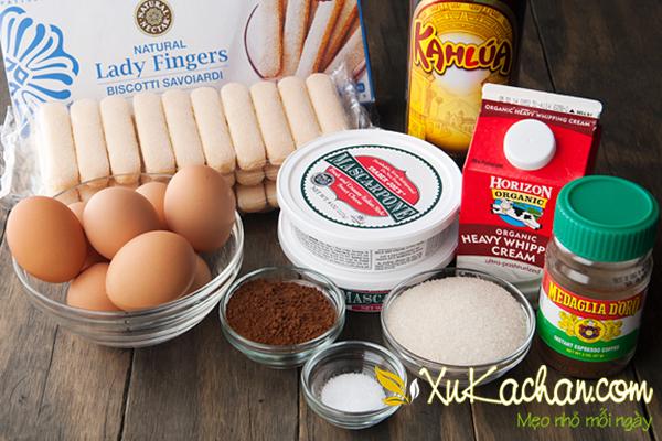 Một số nguyên liệu làm bánh Tiramisu cần chuẩn bị