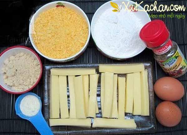 Một số nguyên liệu làm phô mai que cần chuẩn bị - cách làm phomai que