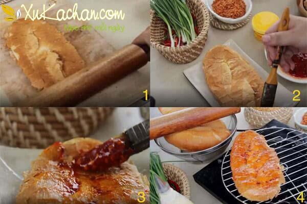Làm bẹp bánh mì rồi quết bơ + sate 2 mặt rồi nướng