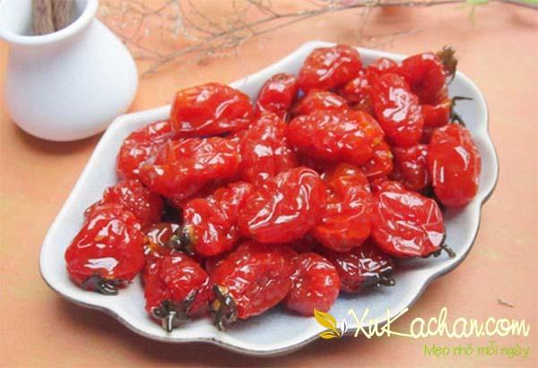 Thành phẩm món mứt cà chua bi có được