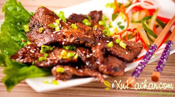 Thành phẩm món thịt bò nướng thơm ngon hấp dẫn