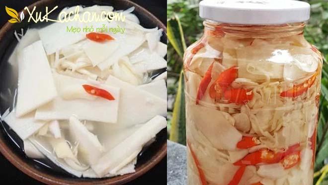 Thành phẩm món măng chua ngâm ớt, móc mật