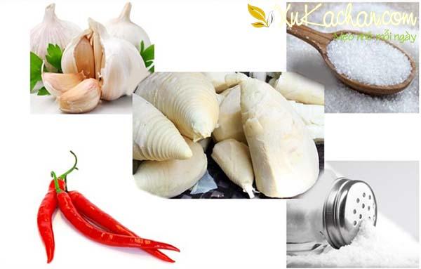 Một số nguyên liệu làm măng chua cần chuẩn bị - cách muối măng chua