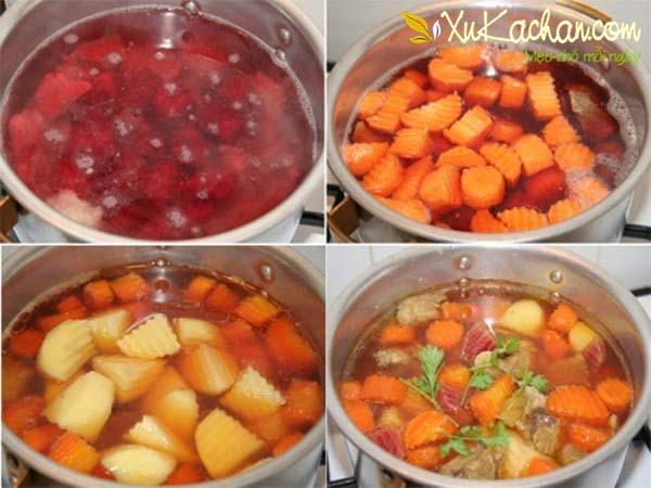 Nấu canh bí đỏ củ dền, cà rốt - cach nau canh bi do