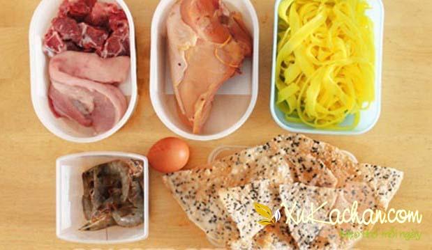 Một số nguyên liệu nấu mì quảng cần chuẩn bị - cách nấu mì quảng ngon