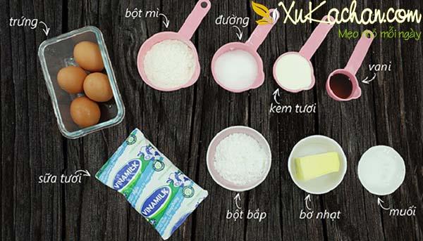 Một số nguyên liệu làm bánh su kem cần chuẩn bị