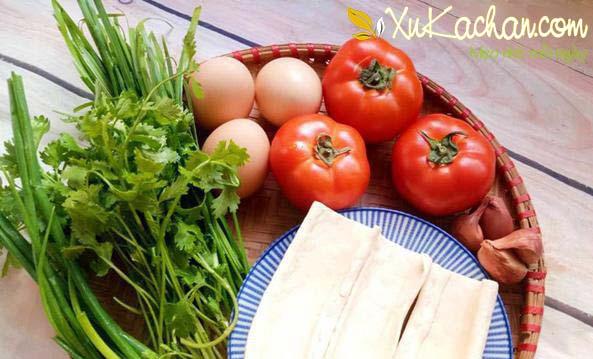 Một số nguyên liệu nấu canh trứng cà chua đậu cần chuẩn bị