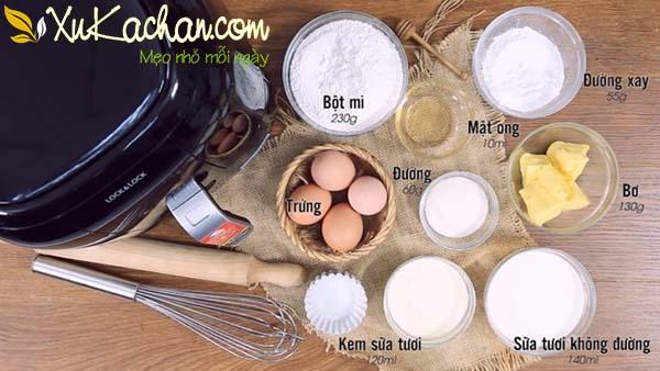 Một số nguyên liệu và dụng cụ làm bánh tart trứng cần chuẩn bị