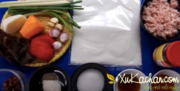 Một số nguyên liệu làm bánh tráng lụi cần chuẩn bị
