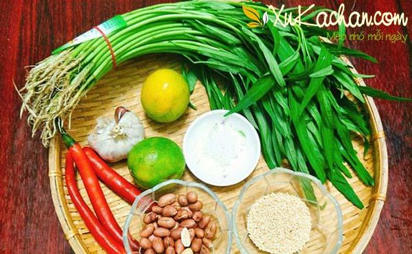 Một số nguyên liệu làm nộm rau muống chay cần chuẩn bị