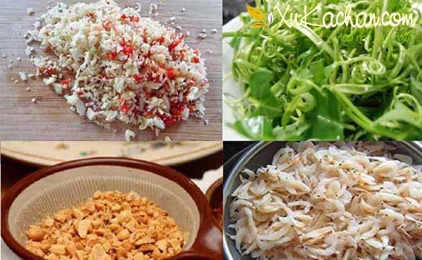 Một số nguyên liệu làm nộm rau muống tép đồng cần chuẩn bị- cach lam nom rau muong