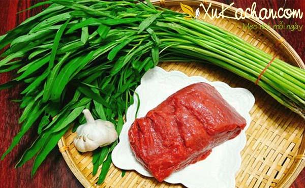 Một số nguyên liệu làm nộm rau muống thịt bò - cách làm nộm rau muống thịt bò