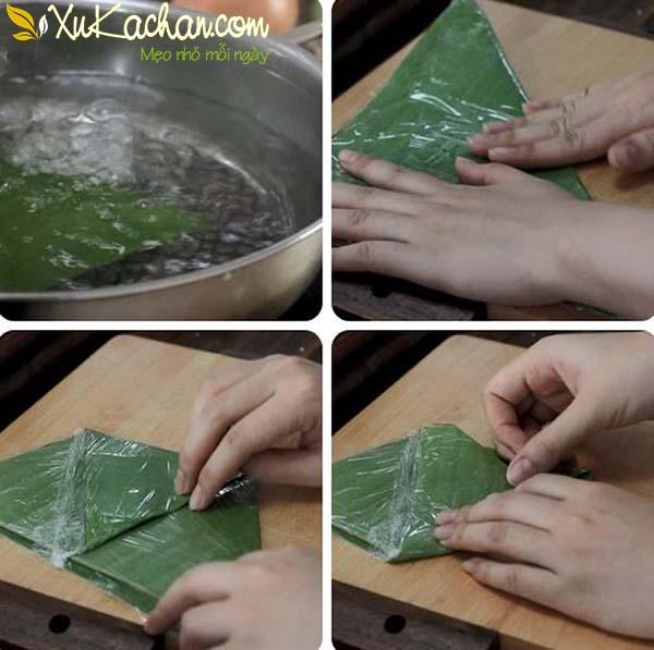 Sơ chế lá chuối gói bánh giò - cách làm bánh giò ngon