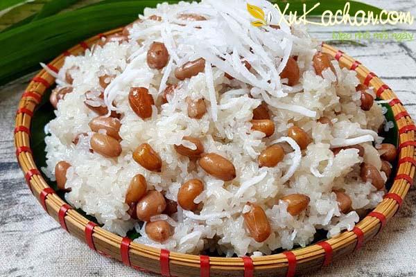 Xôi đậu phộng nước cốt dừa - cach nau xoi dau phong ngon