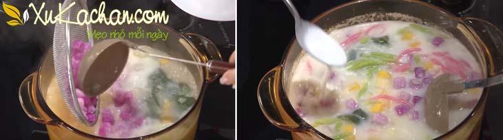 Cho khoai mỡ + bánh lọt vào nồi, sau đó thêm nước cốt dừa và khuấy đều tay