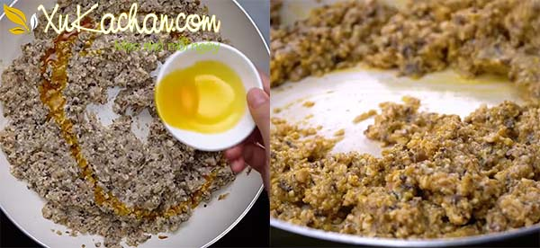 Xào hỗn hợp đậu nấm để làm riêu cua