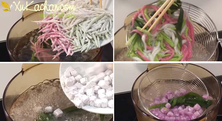 Bánh lọt và khoai mỡ đem luộc chín rồi vớt ra cho ngay vào tô nước đá lạnh