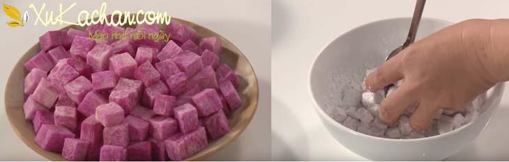 Lăn khoai mỡ qua bột năng - cách nấu chè bà ba Nam Bộ