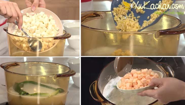 Cho lá dứa + khoai mì + đậu xanh và khoai lang vào nồi nấu chín - cách nấu chè bà bà ngon