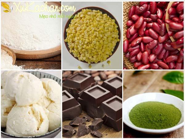 Chuẩn bị nguyên liệu làm bánh mochi với một số loại nhân cơ bản