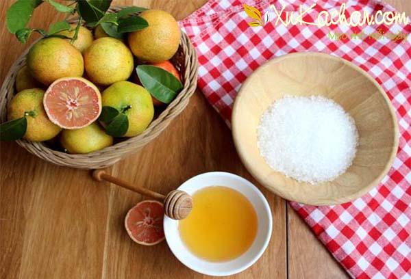Chuẩn bị chanh đào, mật ong và đường phèn - cach ngam chanh dao mat ong duong phen